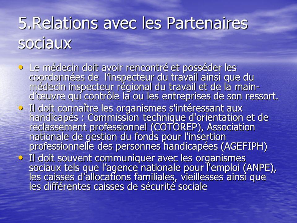 5.Relations avec les Partenaires sociaux