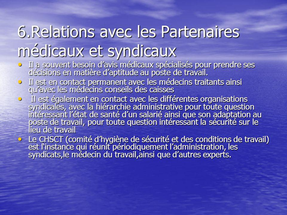 6.Relations avec les Partenaires médicaux et syndicaux