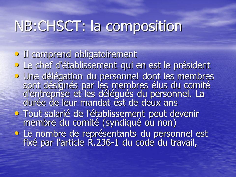 NB:CHSCT: la composition