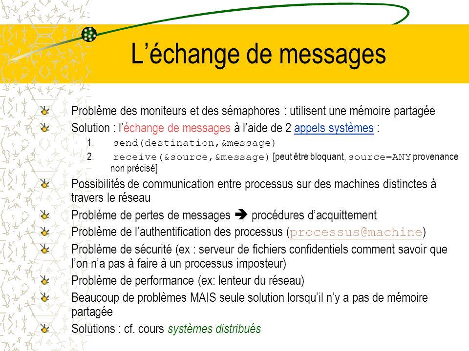 L'échange de messages Problème des moniteurs et des sémaphores : utilisent une mémoire partagée.