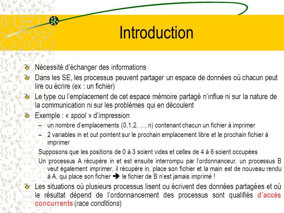 Introduction Nécessité d'échanger des informations