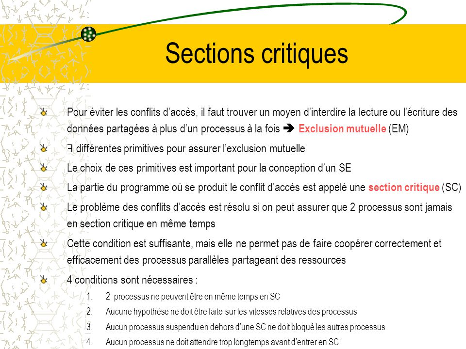 Sections critiques