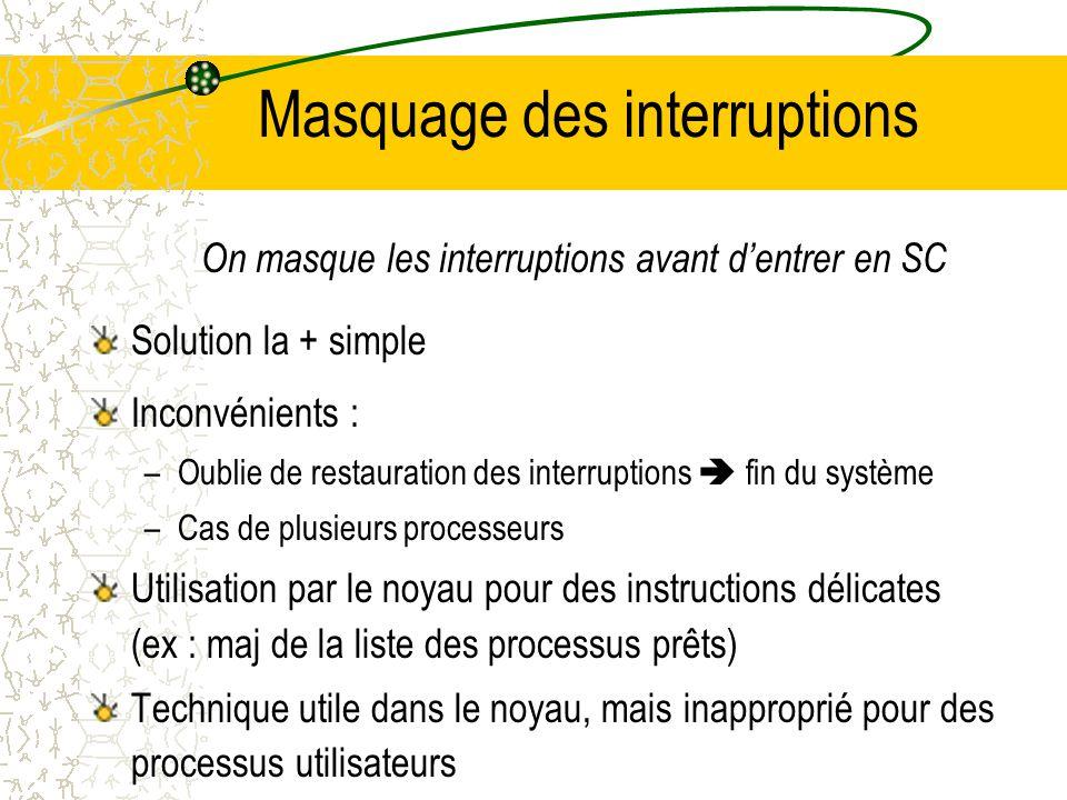 Masquage des interruptions