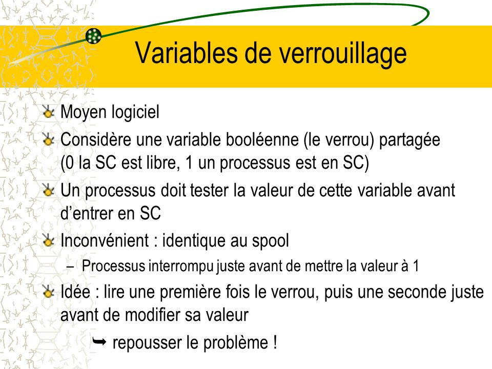 Variables de verrouillage