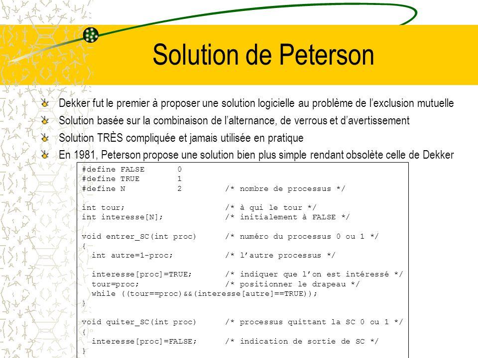 Solution de Peterson Dekker fut le premier à proposer une solution logicielle au problème de l'exclusion mutuelle.