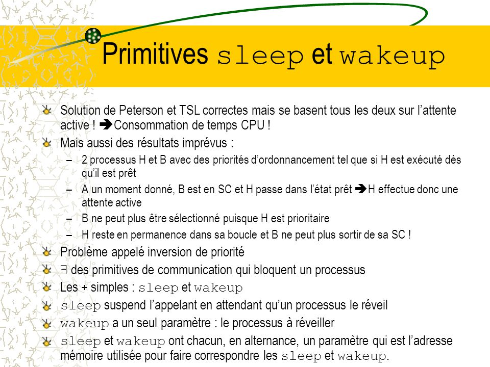Primitives sleep et wakeup