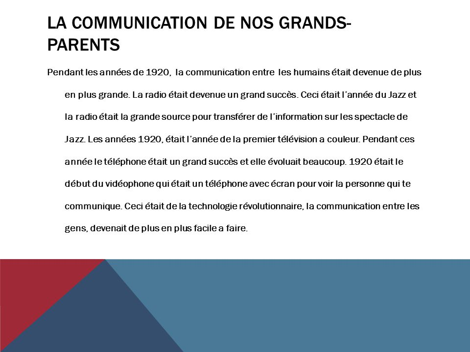 La communication de nos grands-parents