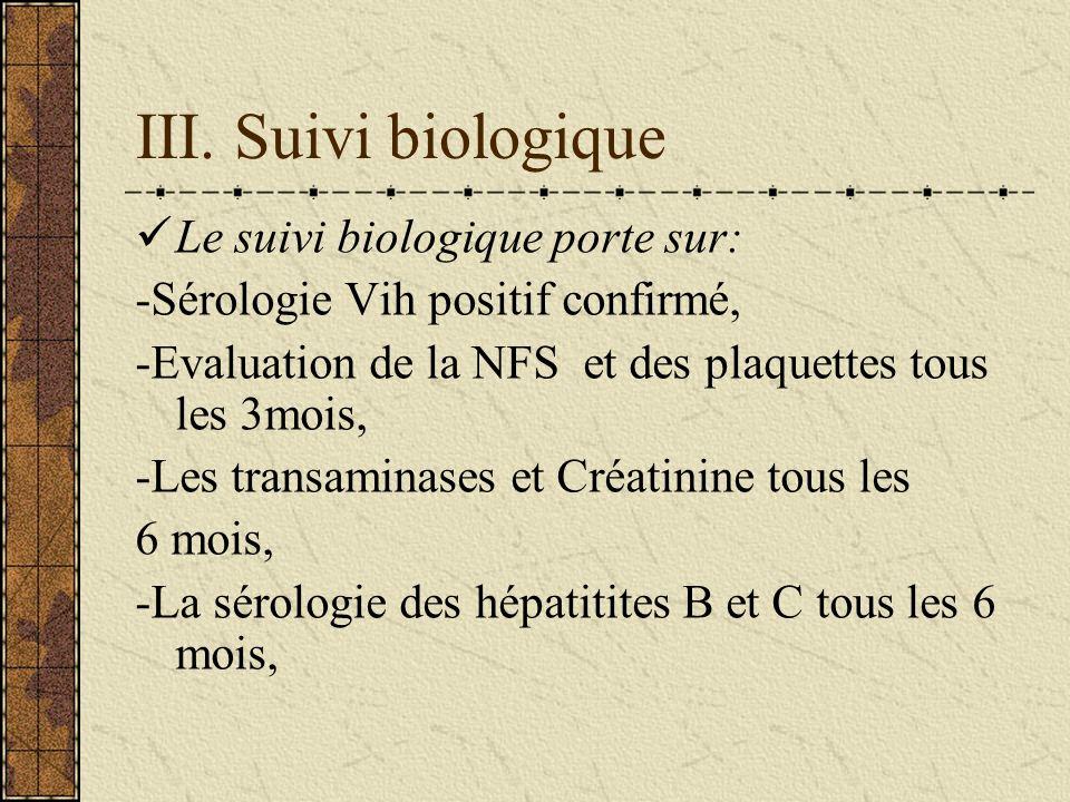 III. Suivi biologique Le suivi biologique porte sur: