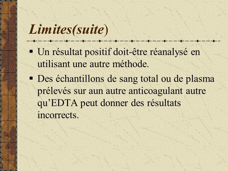 Limites(suite) Un résultat positif doit-être réanalysé en utilisant une autre méthode.