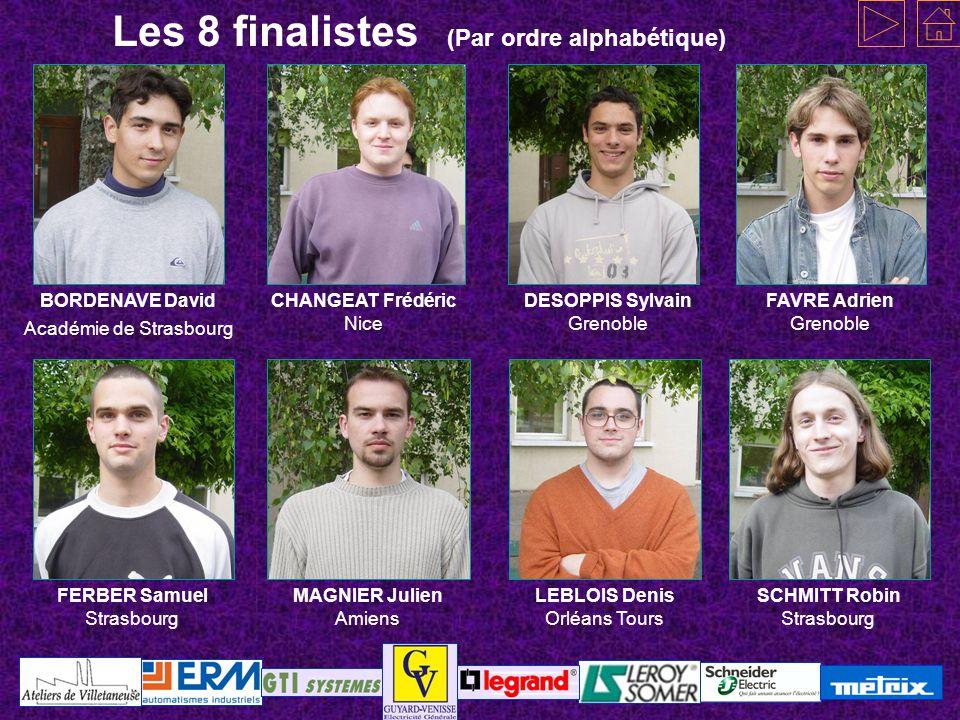Les 8 finalistes (Par ordre alphabétique)