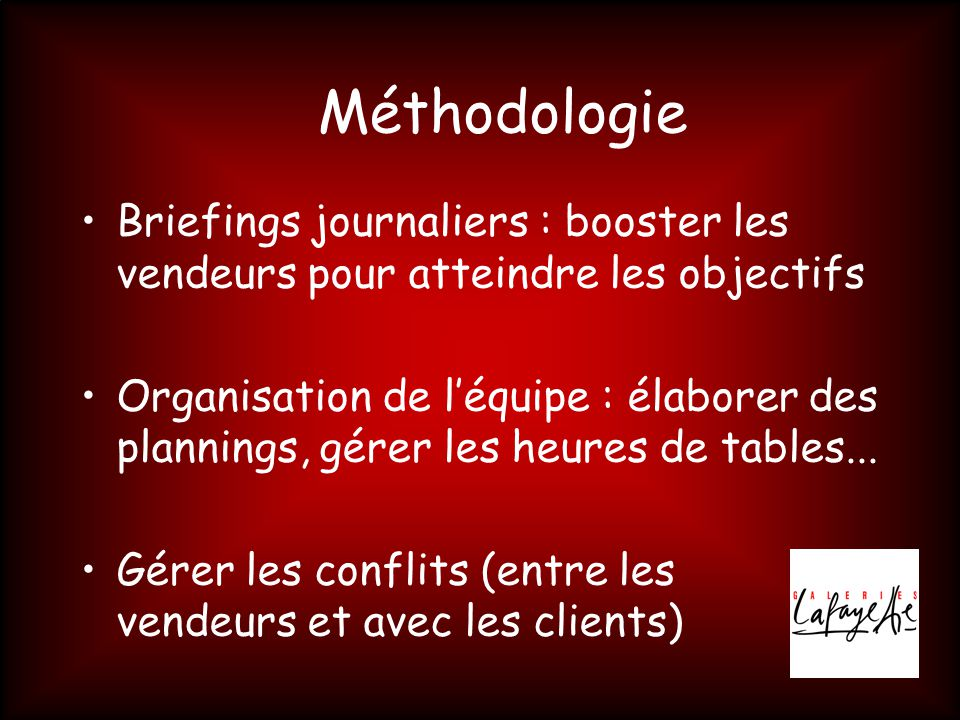 Méthodologie Briefings journaliers : booster les vendeurs pour atteindre les objectifs.
