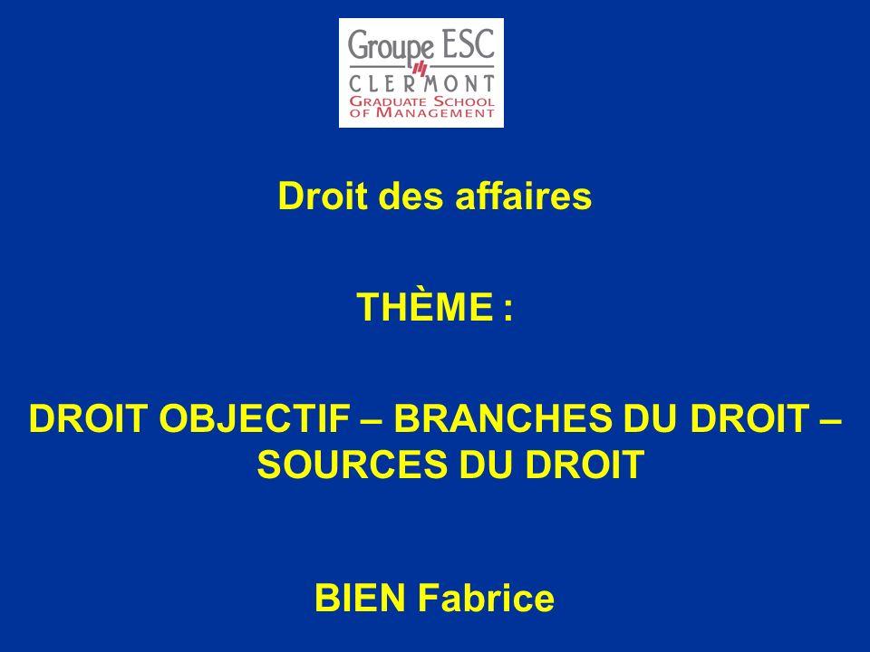 DROIT OBJECTIF – BRANCHES DU DROIT – SOURCES DU DROIT