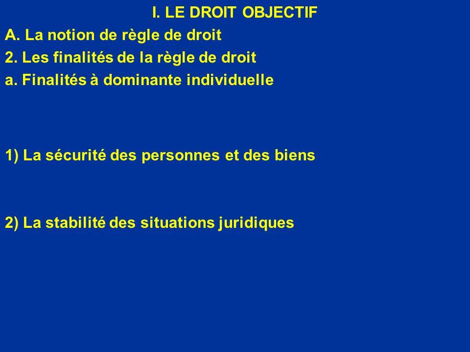 I. LE DROIT OBJECTIF A. La notion de règle de droit. 2. Les finalités de la règle de droit. a. Finalités à dominante individuelle.
