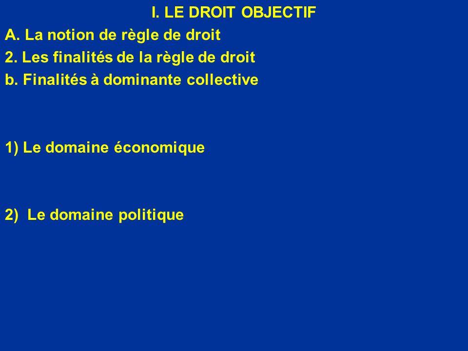 I. LE DROIT OBJECTIF A. La notion de règle de droit. 2. Les finalités de la règle de droit. b. Finalités à dominante collective.
