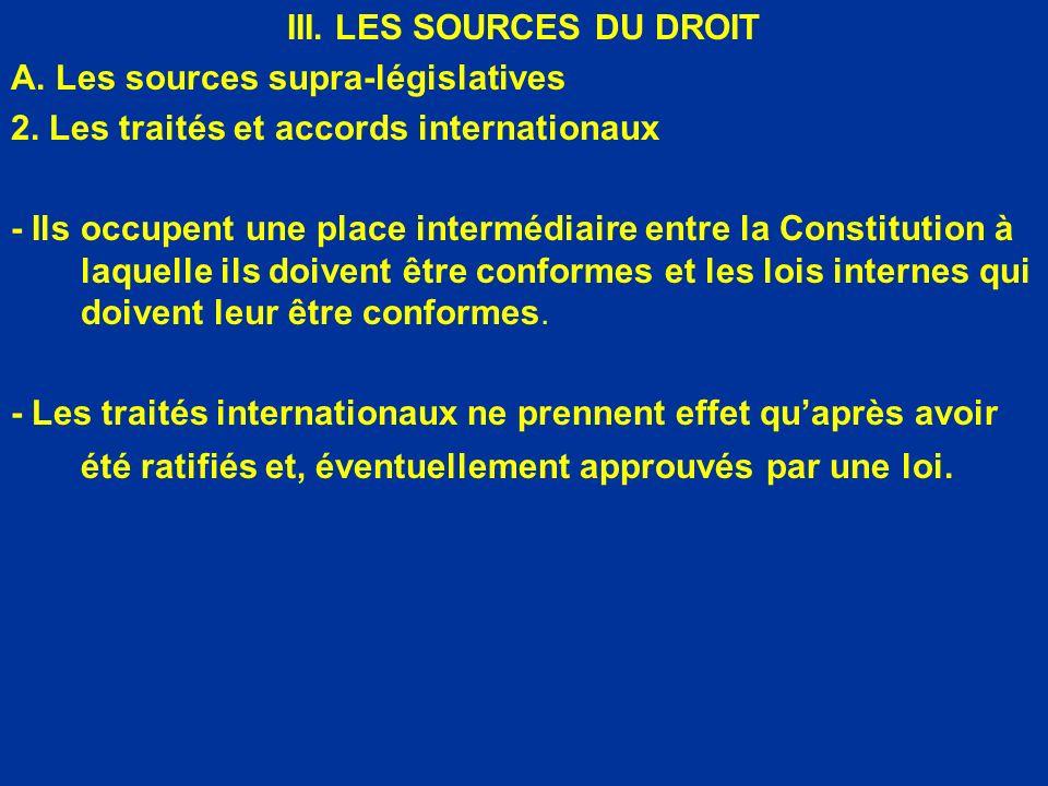 III. LES SOURCES DU DROIT