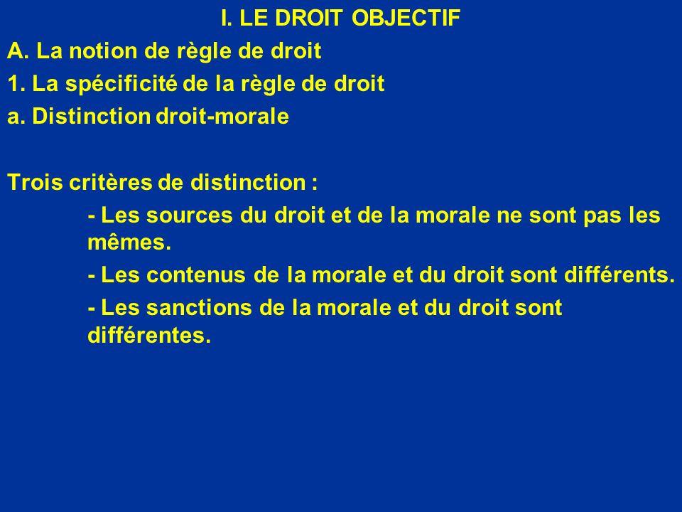 I. LE DROIT OBJECTIF A. La notion de règle de droit. 1. La spécificité de la règle de droit. a. Distinction droit-morale.