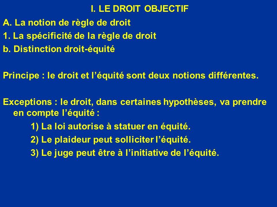 I. LE DROIT OBJECTIF A. La notion de règle de droit
