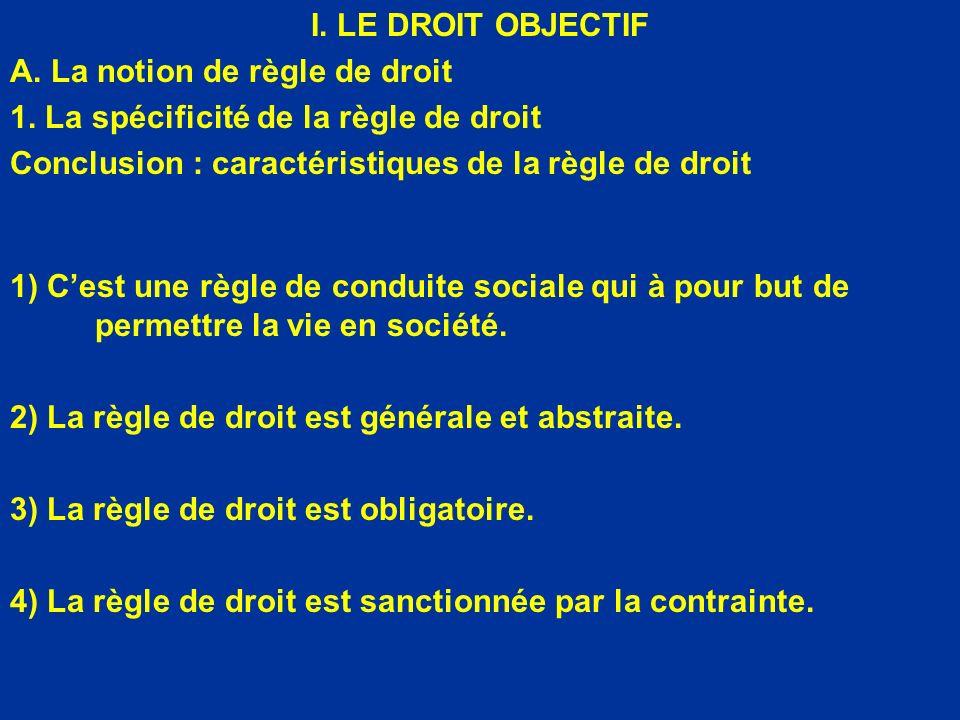 I. LE DROIT OBJECTIF A. La notion de règle de droit. 1. La spécificité de la règle de droit. Conclusion : caractéristiques de la règle de droit.
