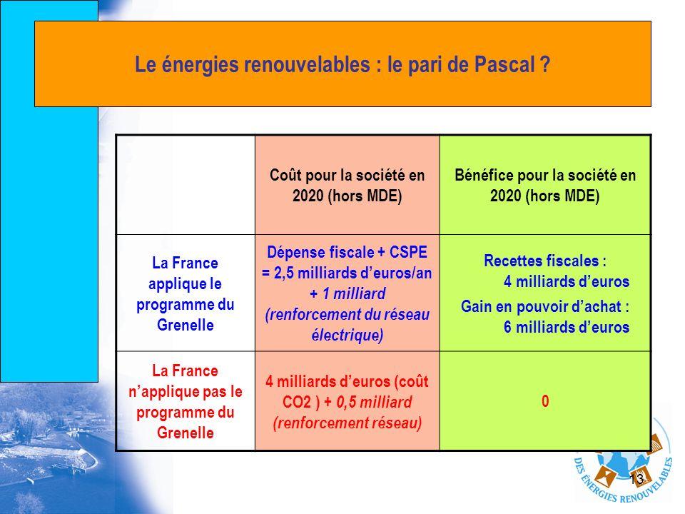 Le énergies renouvelables : le pari de Pascal