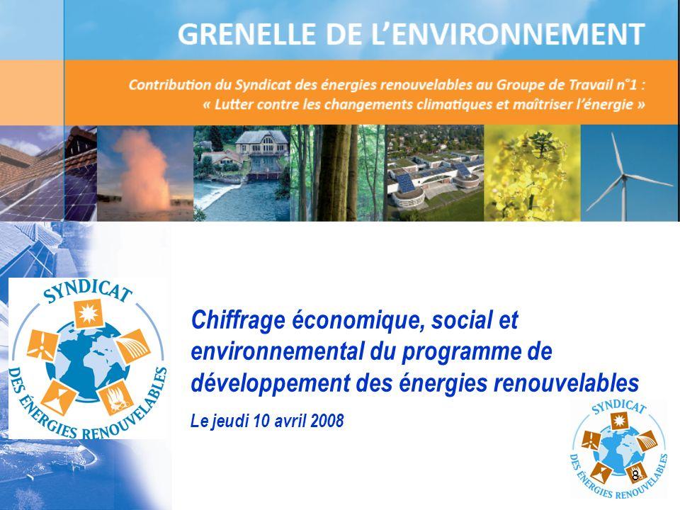 Chiffrage économique, social et environnemental du programme de développement des énergies renouvelables