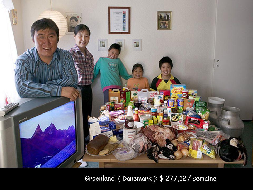 Groenland ( Danemark ): $ 277,12 / semaine