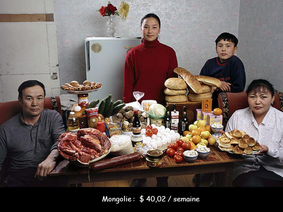 Mongolie : $ 40,02 / semaine