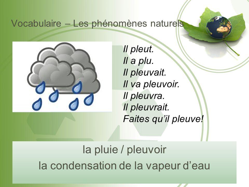 Vocabulaire – Les phénomènes naturels