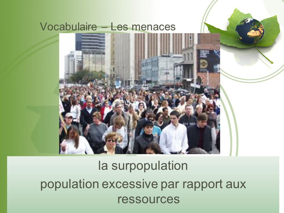 Vocabulaire – Les menaces