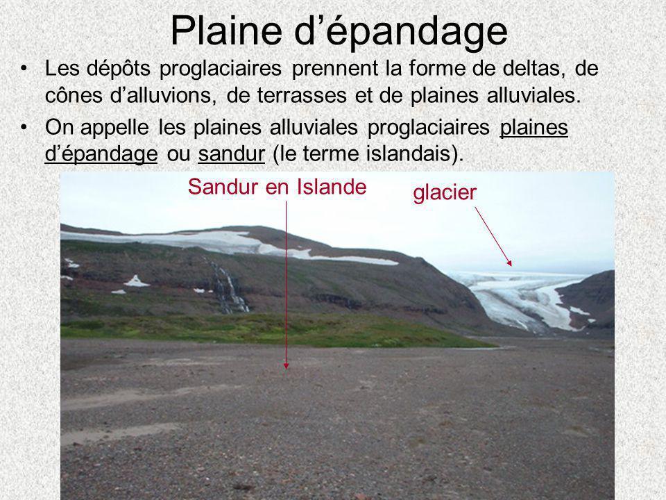 Plaine d'épandage Les dépôts proglaciaires prennent la forme de deltas, de cônes d'alluvions, de terrasses et de plaines alluviales.
