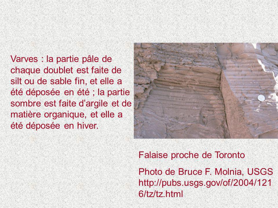 Varves : la partie pâle de chaque doublet est faite de silt ou de sable fin, et elle a été déposée en été ; la partie sombre est faite d'argile et de matière organique, et elle a été déposée en hiver.
