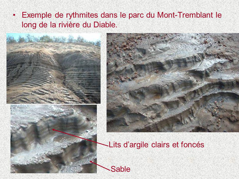 Exemple de rythmites dans le parc du Mont-Tremblant le long de la rivière du Diable.