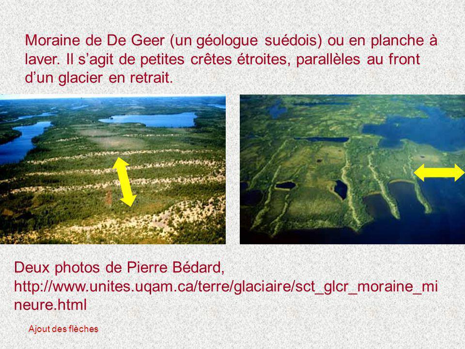 Moraine de De Geer (un géologue suédois) ou en planche à laver