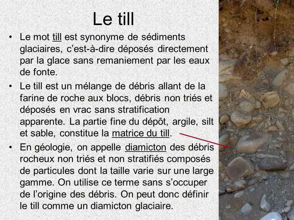 Le till Le mot till est synonyme de sédiments glaciaires, c'est-à-dire déposés directement par la glace sans remaniement par les eaux de fonte.