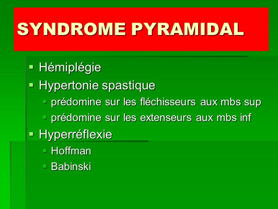 SYNDROME PYRAMIDAL Hémiplégie Hypertonie spastique Hyperréflexie