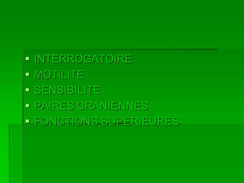 INTERROGATOIRE MOTILITE SENSIBILITE PAIRES CRANIENNES FONCTIONS SUPERIEURES