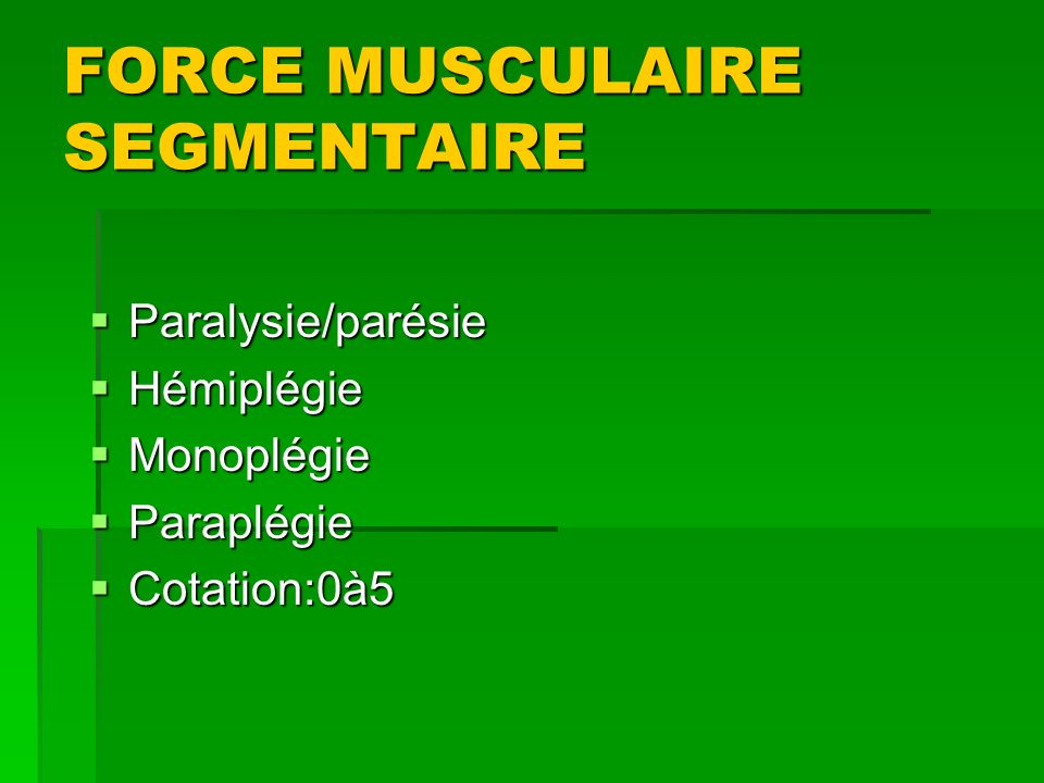 FORCE MUSCULAIRE SEGMENTAIRE