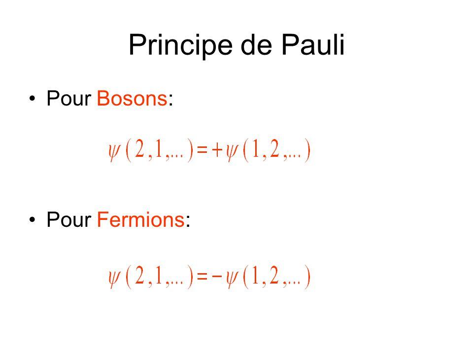 Principe de Pauli Pour Bosons: Pour Fermions:
