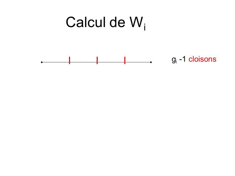 Calcul de Wi gi -1 cloisons