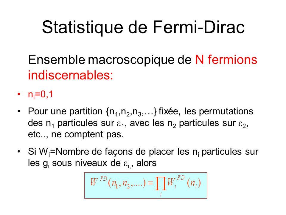 Statistique de Fermi-Dirac