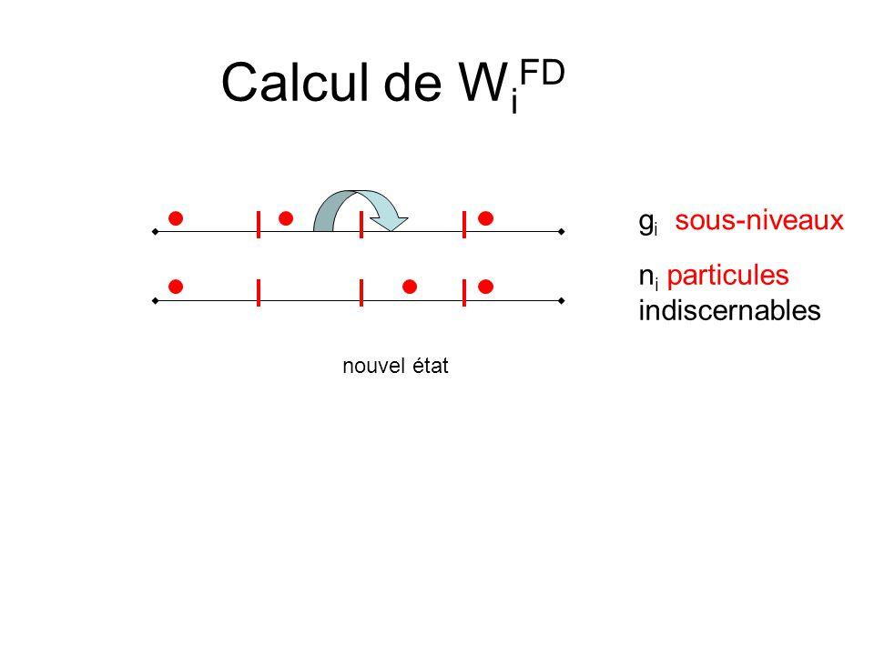 Calcul de WiFD gi sous-niveaux ni particules indiscernables