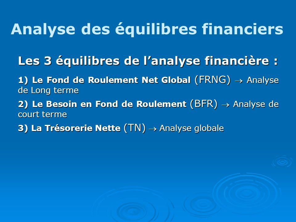 Analyse des équilibres financiers