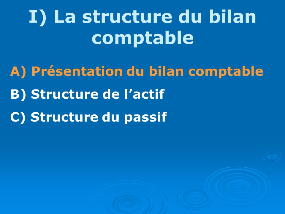 I) La structure du bilan comptable