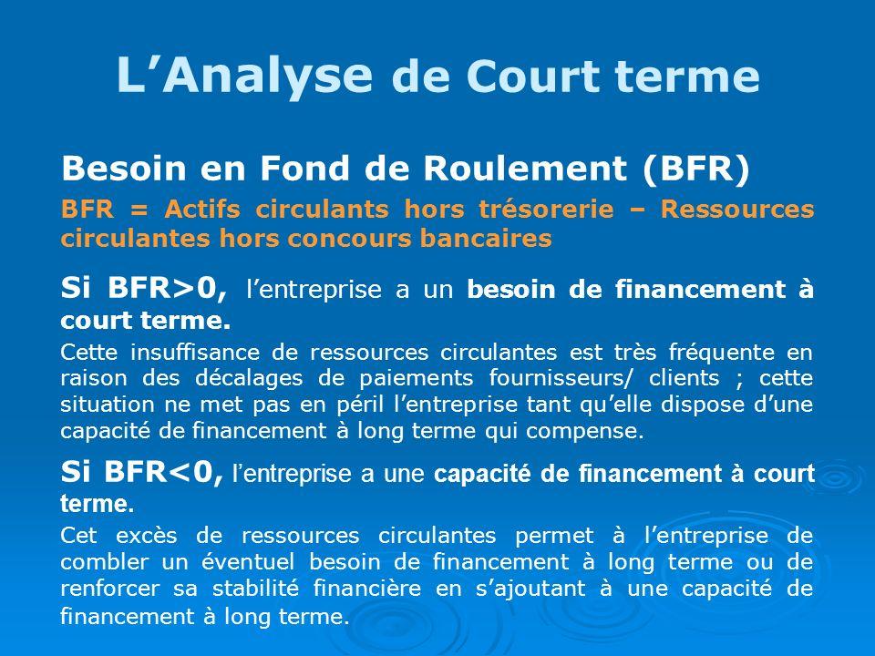 L'Analyse de Court terme