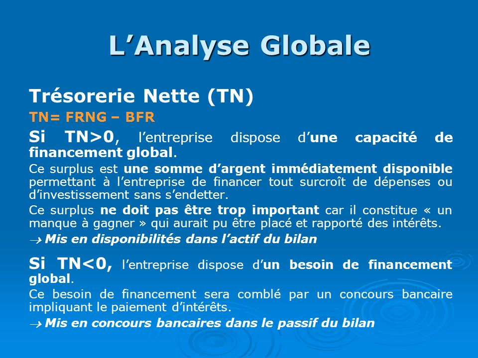L'Analyse Globale Trésorerie Nette (TN)
