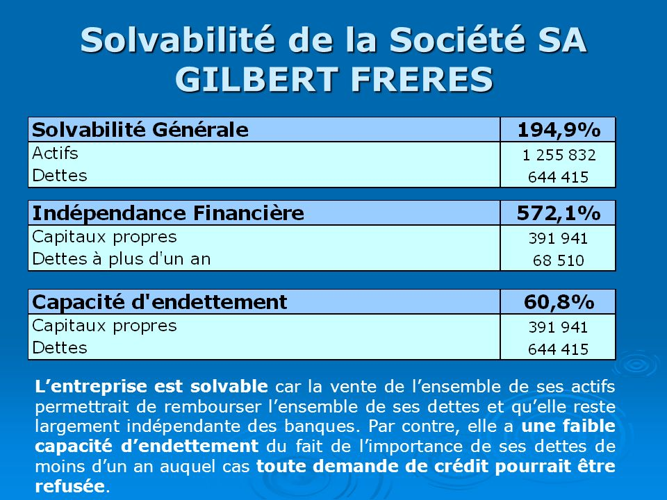 Solvabilité de la Société SA GILBERT FRERES
