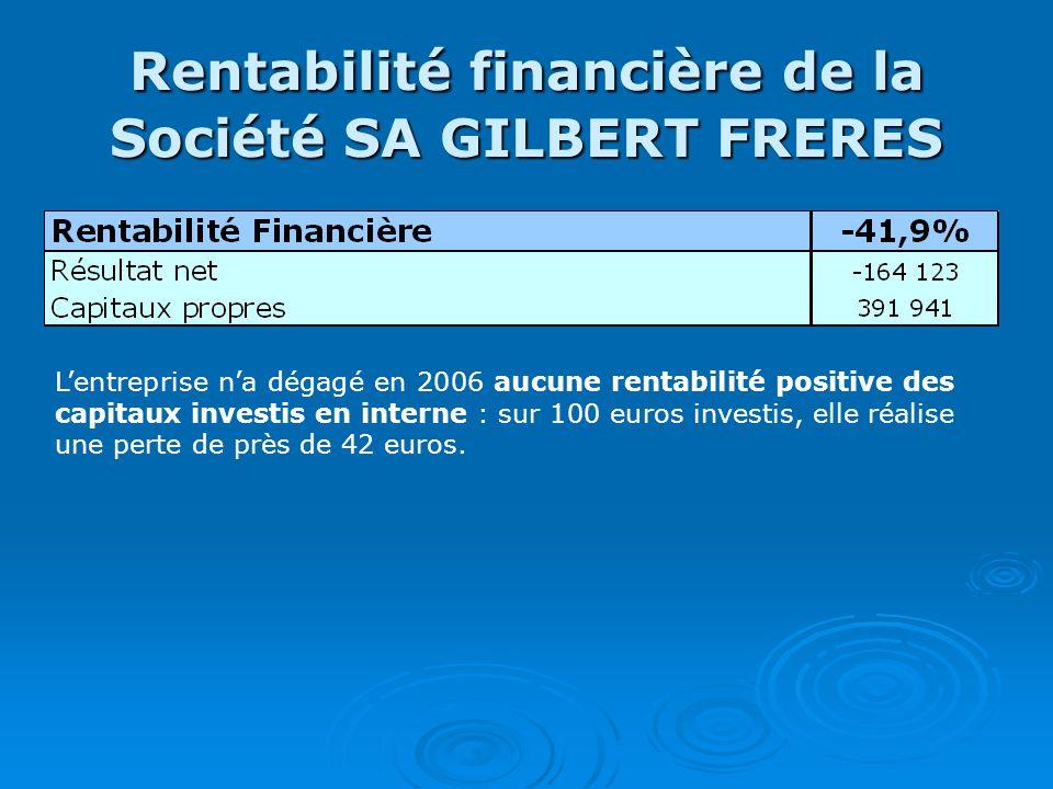 Rentabilité financière de la Société SA GILBERT FRERES