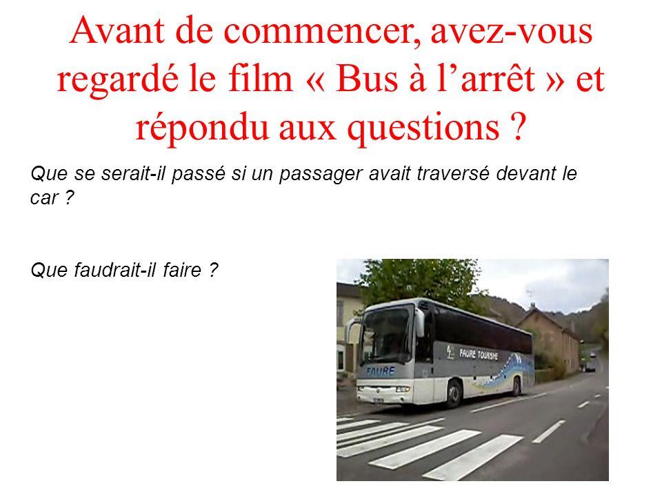 Avant de commencer, avez-vous regardé le film « Bus à l'arrêt » et répondu aux questions