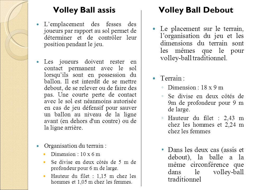 Volley Ball assis Volley Ball Debout