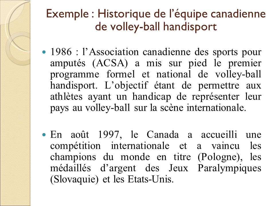 Exemple : Historique de l'équipe canadienne de volley-ball handisport