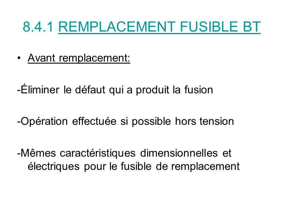 8.4.1 REMPLACEMENT FUSIBLE BT